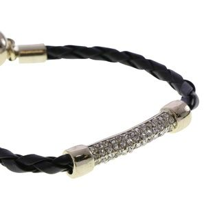 Lydell black cord gold and crystal lobster clasp